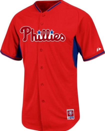 new concept 71f06 00eca Philadelphia Phillies Authentic Cool Base BP Red Baseball Jersey