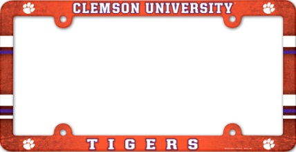 CLEMSON TIGERS NCAA PLASTIC LICENSE PLATE FRAME FREE SHIPPING