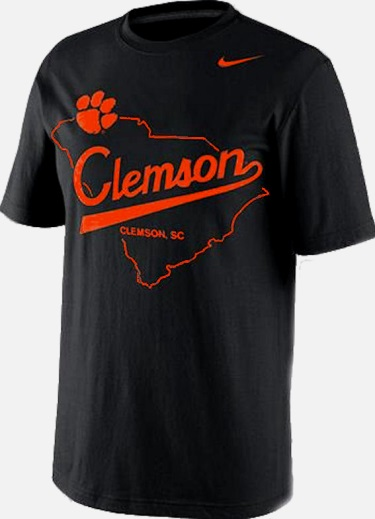 9ac7a76e4a3 ... Clemson Tigers Name   Logo NCAA Black Nike State Outline T-Shirt
