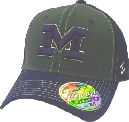 the best attitude 2fbd1 402f4 Michigan Wolverines Zephyr U of M Blue Charcoal Flex Z Fit Hat
