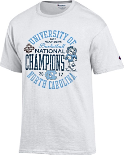 6de85b04d69 ... North Carolina Tar Heels 2017 Basketball Champions White T-Shirt