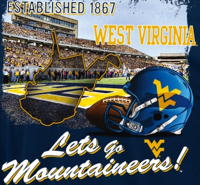 Preferred West Virginia Mountaineers Blue Section 101 WVU Football T-Shirt JX13