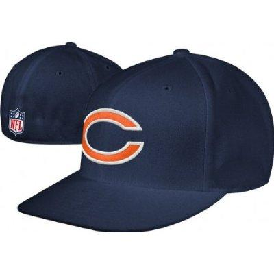 25bc23dd Chicago Bears NFL Football Reebok Navy Fitted Sideline Flat Bill Hat